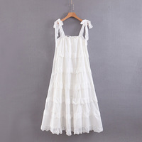 Simplee Elegant Bow Dress Spaghetti Strap 100% Cotton Summer Multilayer Ruffle Dresses Casual Holiday Female Blue White Sundress