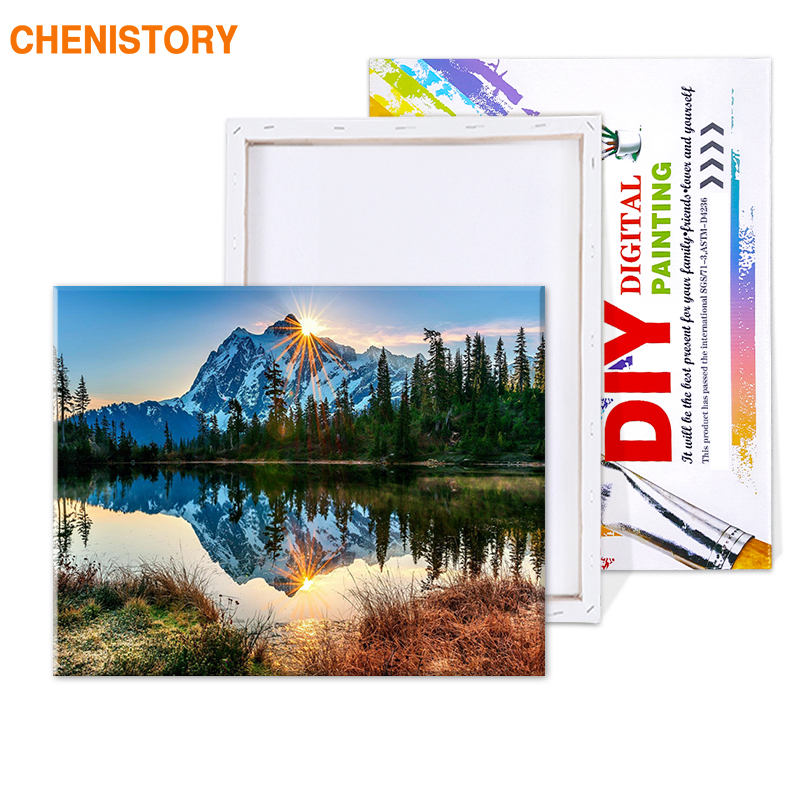 HTB1ROjFT7voK1RjSZFwq6AiCFXaF CHENISTORY Snow Mountain DIY Painting By Numbers Kits Landscape Paint On Canvas Painting Calligraphy Home Decor Wall Art Picture