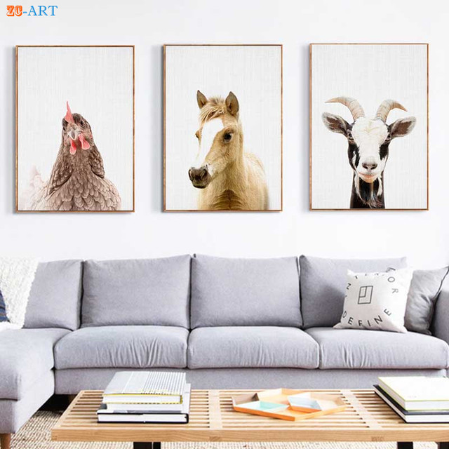 d4bb4e3f20c Color Goat Hen Chicken Horse Prints Farm Animal Poster Large Wall Art Canvas  Painting for Kids Room Home Decor Framed Gift