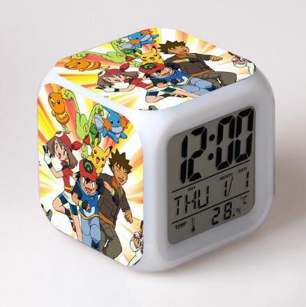 Kids LED 7 Color Anime Pocket Monster Pikachu Pokemon Flash Digital Alarm Clocks Night Light Bedroom Clock reloj despertador(China)
