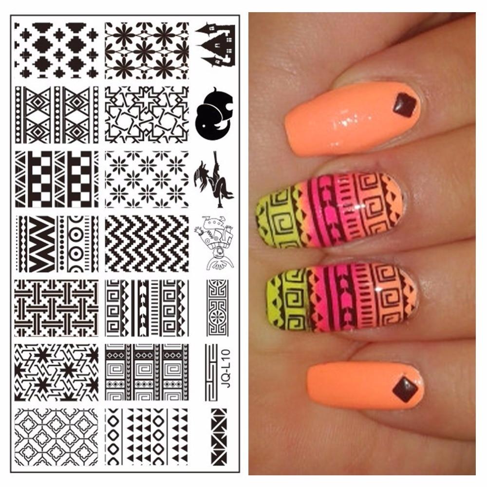 ⓪1 unid DIY uñas belleza diseños Acero inoxidable imagen estampado ...