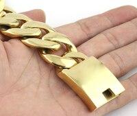 Sport Heavy Biker Gold 316L Stainless Steel Curb Bracelet Mens Chain Boys Wholesale Jewelry Width 25MM