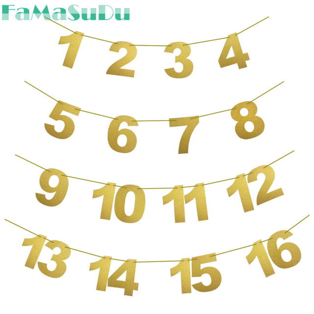 Baby Girl Boy One Year Old First Birthday Decorations Gold Pink 1 16Month Photo