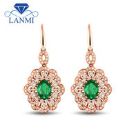 Genuine Emerald Earrings Oval Shape Solid 18K Rose Gold Diamond Gemstone Jewelry Luxury Design for Wife Christmas Gift SE0303