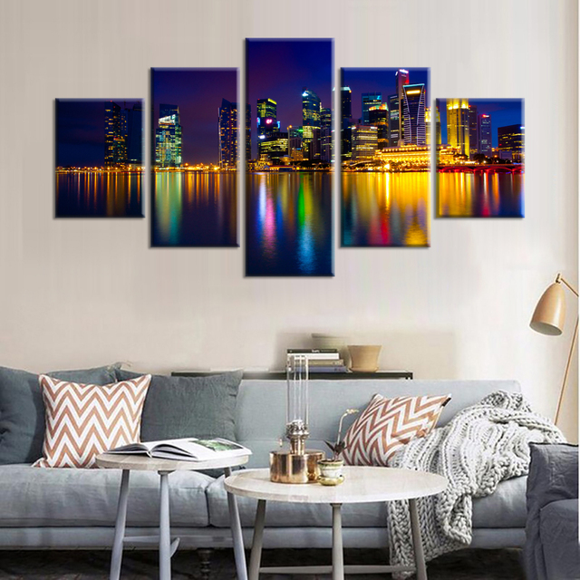 5 Pieces Marina Bay Singapore Wall Art Picture Home Decoration