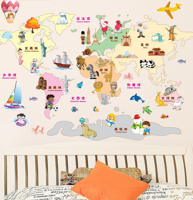 New Arrival Child World Map Wall Stickers For Kids Rooms Decor