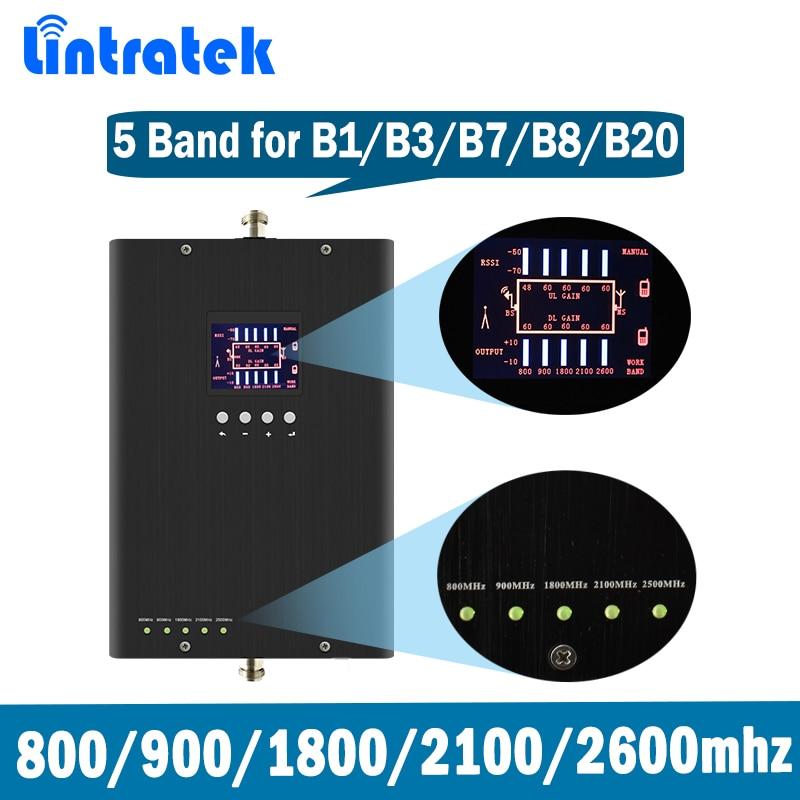 Lintratek 5 Band Ripetitore di Segnale per B1/B3/B7/B8/B20 GSM DCS LTE WCDMA 800 /900/1800/2100/2600 MHz Ripetitore Del Segnale Amplificatore @ 8.3