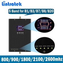 Lintratek 5 Band Signal Repeater for B1/B3/B7/B8/B20 GSM DCS LTE WCDMA 800/900/1800/2100/2600MHz Booster Amplifier @8.3