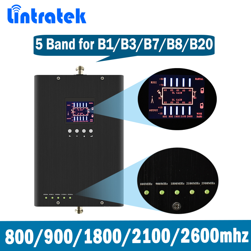 Lintratek 800 900 2100 1800 2600Mhz Signal Booster GSM 2G 3G 4G LTE Repeater Pentafrequency Amplifier Band 20/1/3/7 KW13D-LGDWL