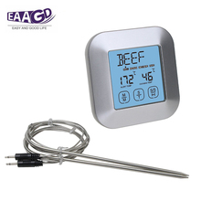 Touch Screen 2 In 1 Instant Read Digital Meat Thermometer and Timer, with Stainless Steel Probes for BBQ Smoker Grilling