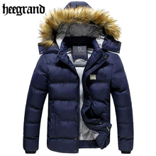 HEE GRAND Winter Jacket Men 2016 Thick Hoodied Down Coats Men's Cotton Padded Overcoats Classical Solid MWY079