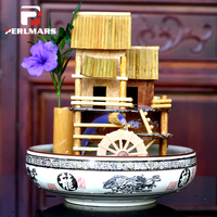 110 240V Bamboo House Water Cycle Fountain Office Desktop Bonsai Feng Shui Wheel Lucky Fish Tank Home Decor Birthday Gifts