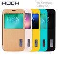 ROCK Оригинальный Грейс серии Кожа Case Для Samsung Galaxy S5 обложка тонкий Smart View Shell Wake Авто Sleep Сумка крышка Shell для S5