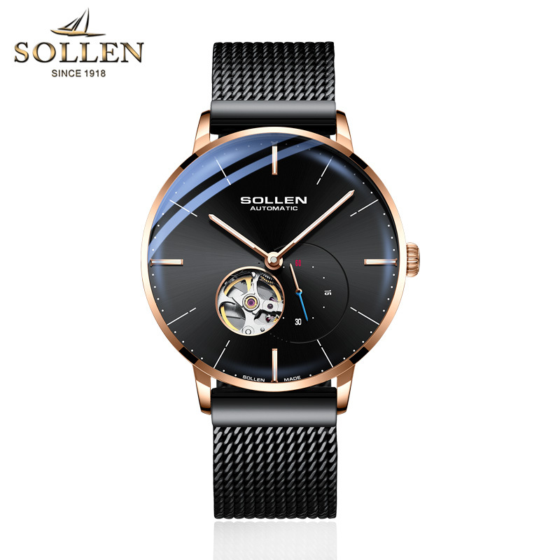 SOLLEN Top Mens Watches Top Brand Luxury Automatic Mechanical Watch Men Full Steel Business Waterproof Fashion Sport Watches-in Mechanical Watches from Watches    1