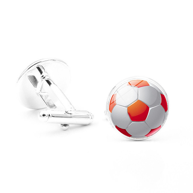 Konminry Trendy Sport Style Cufflinks Multi Color Soccer Glass Cabochon Pattern Shirt Jewelry
