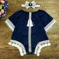 Fábrica de rendas de algodão de malha roupas de bebê meia manga estilo vintage borlas retro clothing headband do meninas roupas romper do bebê