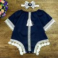 Vintage Style Factory Knit Cotton Lace Baby Clothes  Half Sleeve Retro Tassels Baby Romper Clothing  Headband Girls Clothes