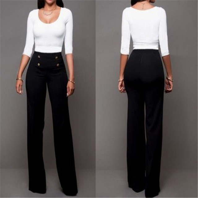 b5fa3a783c1 Women High Waist Palazzo Pants Wide Leg Flared Trousers Lady Long Pant Plus  Size fashion summer comfortable black and white