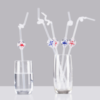 Child Baby Reusable Windmill Hard Straws For Cocktail Soda Drinks Glasses Cup Decor Tools Drinkware Kitchen Random Color