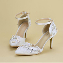 2017 spring new word buckle crystal sandals female High heels shoes Pointed hollow lace wedding shoes bridal shoes