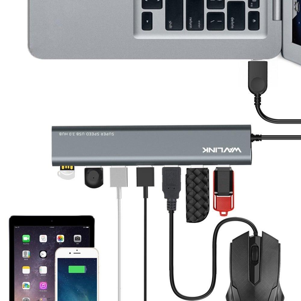 Image 5 - Super speed 7 Port USB 3.0 Aluminum HUB With 5V/4A Power Adapter USB Splitter hub 3.0 Supports Microsoft Windows  MAC OS WavlinkUSB Hubs   -