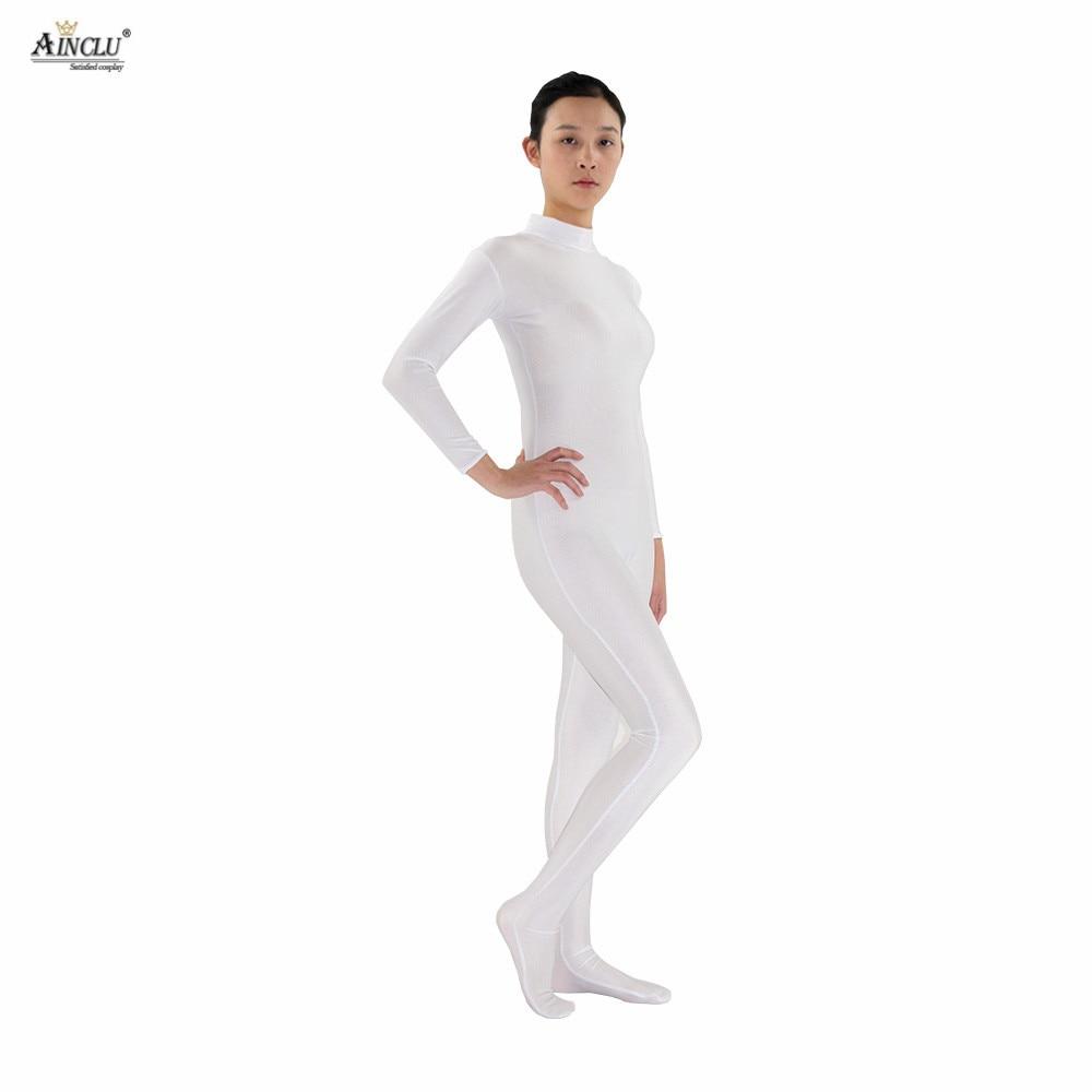 Ainclu Women Spandex Nylon Lycra White Head-handless Body Second Skin Tight Color Custom Skin Suit Cosplay Costume Zentai