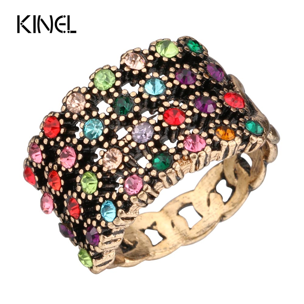 Kinel Fashion Crystal Rings For Women Antique Gold Mosaic 4 Rows Colorful Crystal Vintage Wedding Ring Jewelry
