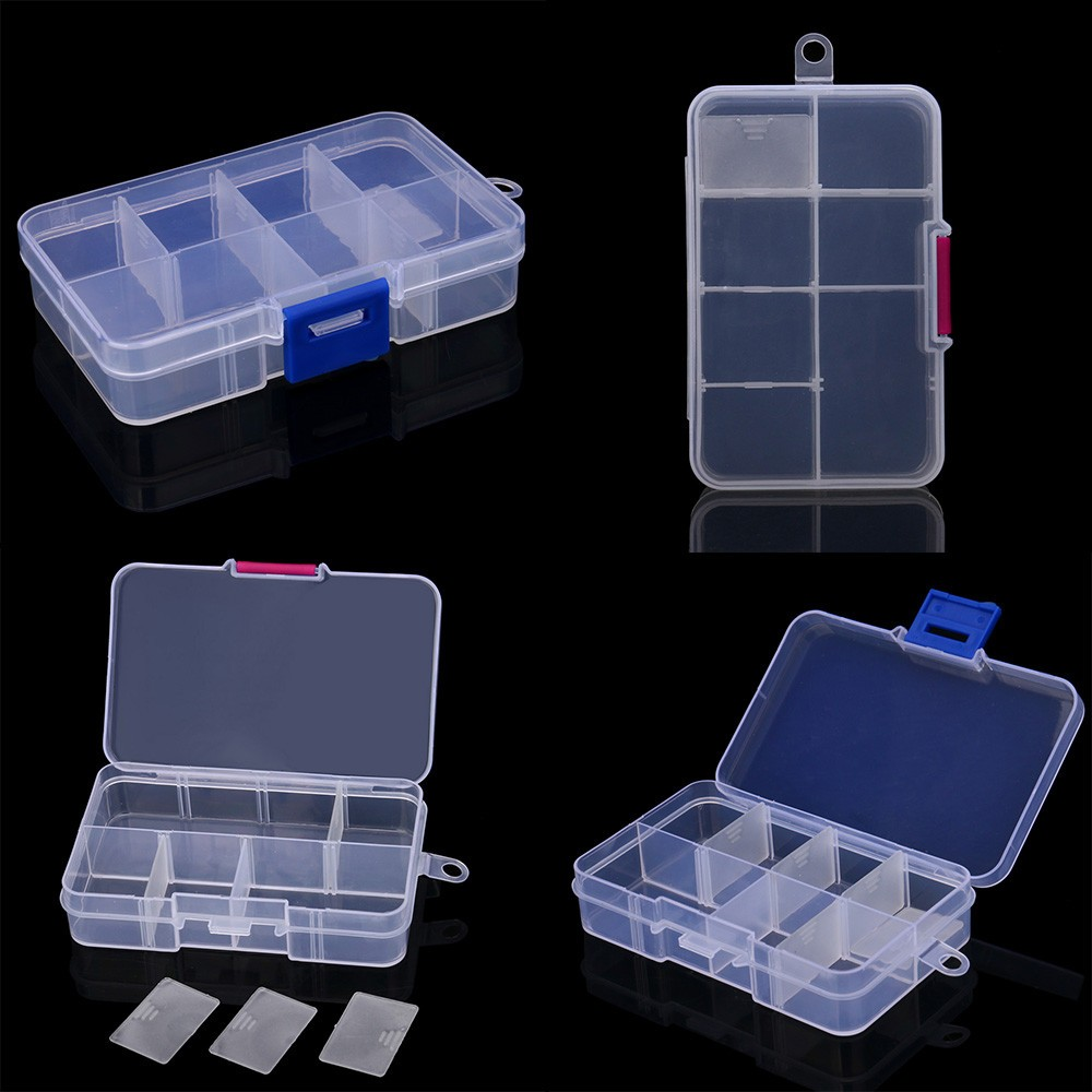 2PC Plastic 8 Slots Adjustable Jewelry Storage Box Case Craft Organizer Bead Multi-functional detachable jewelry storage box
