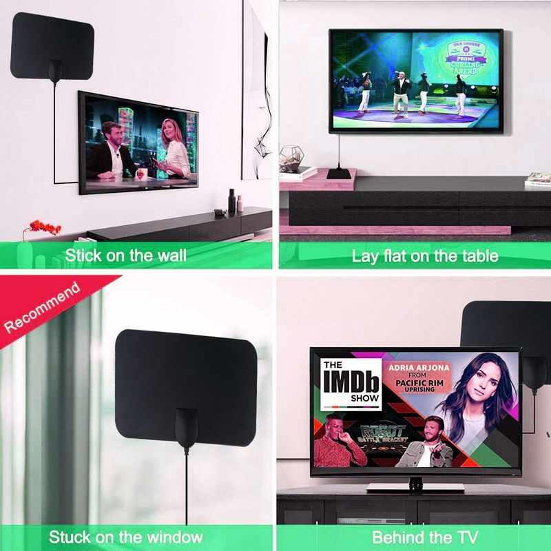Kebidumei 4K 25DB Digital TV Antenne High Gain HD TV DTV Box Eu-stecker 50 Meilen Booster Aktive Innen luft HD Flache Design