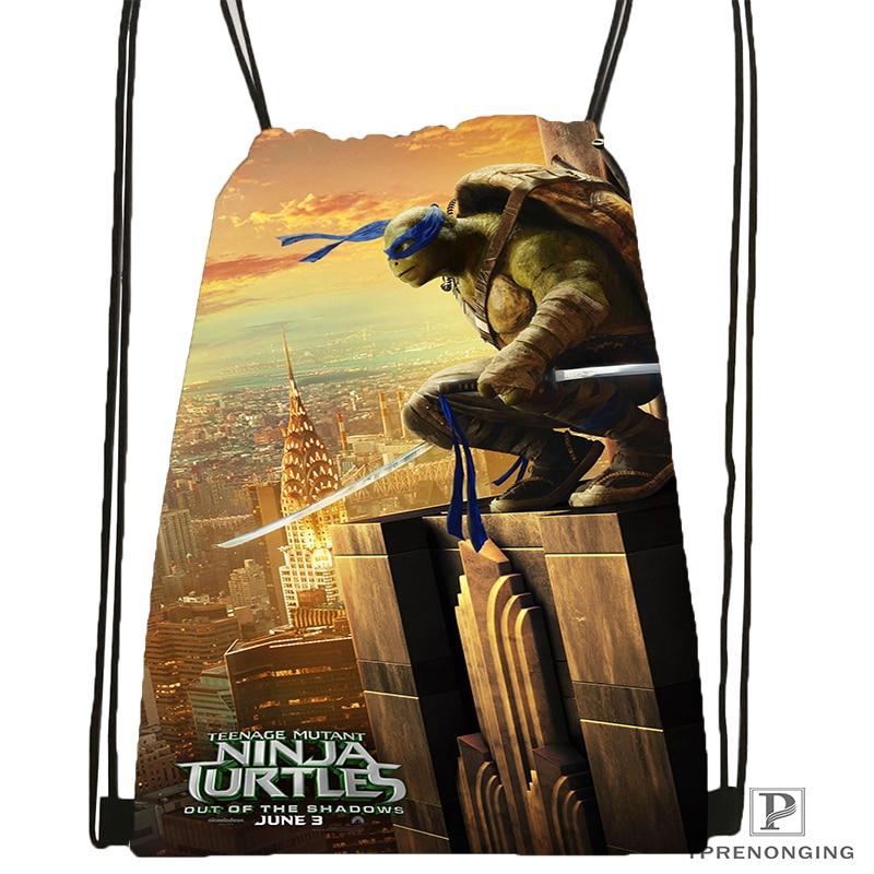 Custom Teenage Mutant Ninja Turtles Drawstring Backpack Bag Cute Daypack Kids Satchel (Black Back) 31x40cm#180531-03-16