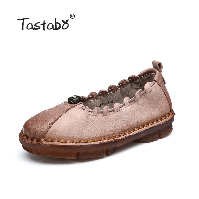 Tastabo Handmade Autumn Women Genuine Leather Shoes Cowhide Loafers Real Skin Shoes Folk Style Ladies Flat