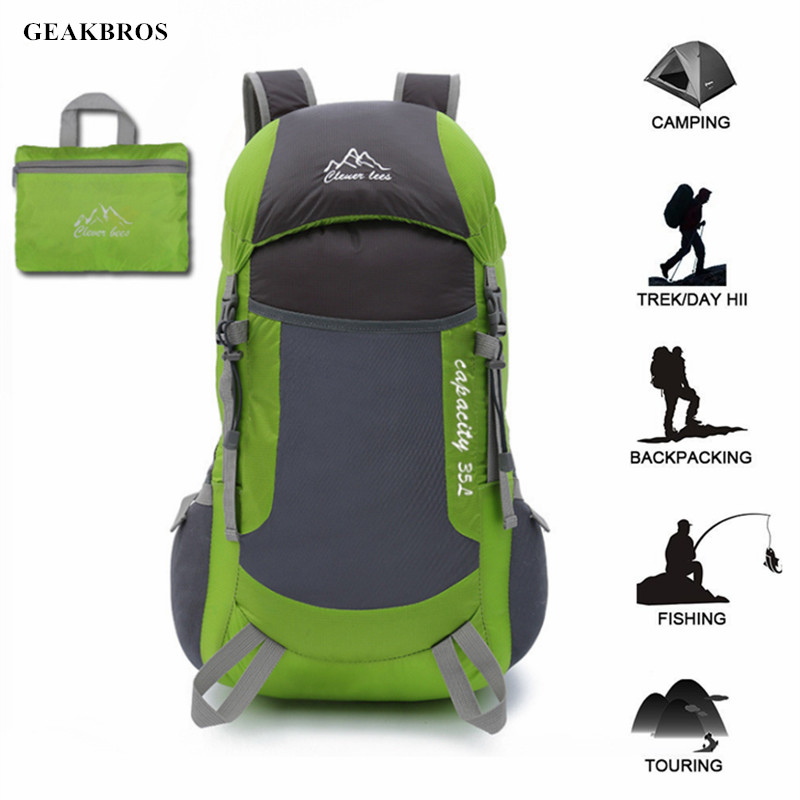 35L Travel Hiking Backpack Foldable Lightweight Sports Bag Packable Durable Waterproof Daypack Men Women Outdoor Camping Bag