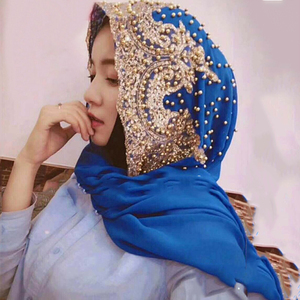 Image 5 - Hijabs Muslim Islamic Scarf Scarves for Woman Long Underscarf Moslima Solid Color with Bead Prayer Turbante