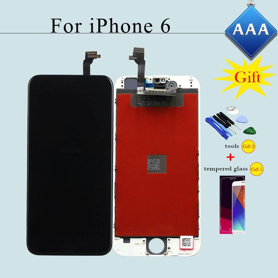 imágenes para Todo el Trabajo de Prueba de Alta Calidad Para el iphone 6 de 4.7 pulgadas LCD de Pantalla Táctil y Digitalizador Asamblea Reemplazo Negro/blanco + 2 Regalos