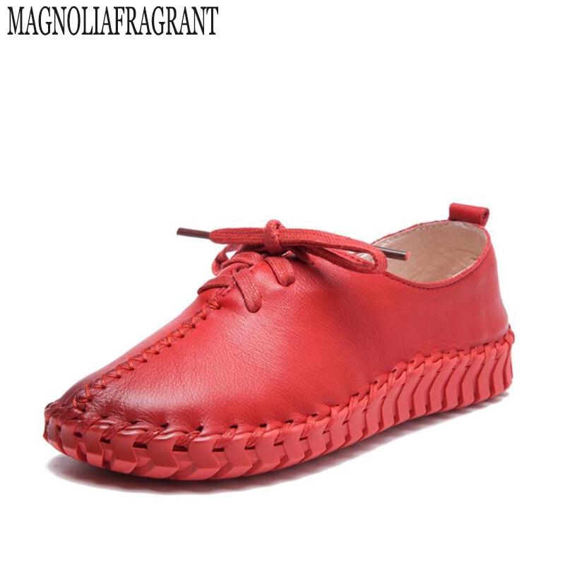 2017 Mujer 2 Casual Chaussures Plat En Nouvelle 4 Cuir Zapatos Mocassins 3 Pour Main 1 Laçage Femmes K184 Dames rwUWrnOqyx