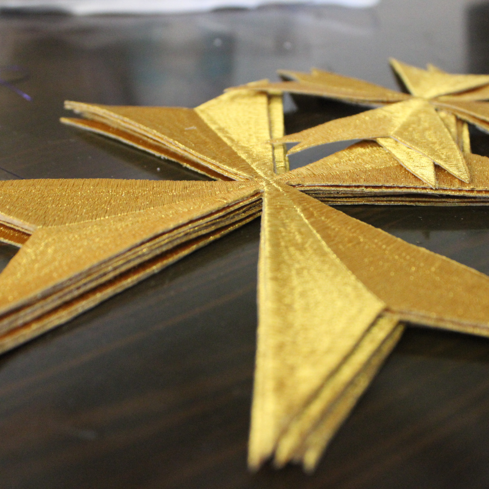 YACKALASI Cruz De Malta Gold Appliqued Cosplay Trims Embroidered Accessory Iron On Flower Patches 15cm-20cm