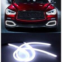 Car Styling 2×85 cm Blanco + Amarillo Tira Flexible de LED de Conducción Diurna Luz de Angel Ojo DRL DIY Con Señal de vuelta de Estacionamiento Lámparas