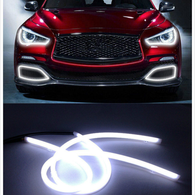 JURUS Car Styling 2x85cm Led Daytime Running Light White+yellow Flexible Strip Angel Eye Drl Diy With Turn Signal Parking Lamps car styling 2x white blue red yellow green flexible tube style headlight headlamp strip angel eye drl decorative light parking