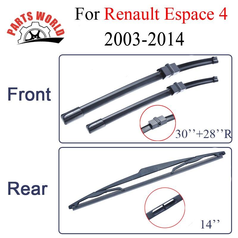 Lames d'essuie-glace Pour Renault Espace 4 2003-2014 Combo En Caoutchouc Pare-Brise Avant Et Arrière Pare-Brise Auto Accessoires De Voiture