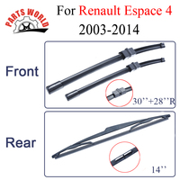 Combo Silicone Rubber Front And Rear Wiper Blades For Renault Espace 4 2003 Onwards Windscreen Wipers