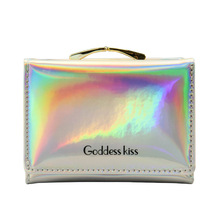 Mini Women Laser Holographic Wallets Short Cute Purse Small Wallet Folding Card Holder Coin Letter