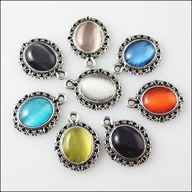 8 Pcs Karışık Retro Tibet Gümüş Kedi Göz Taş Oval Charms Kolye 13.5x18mm