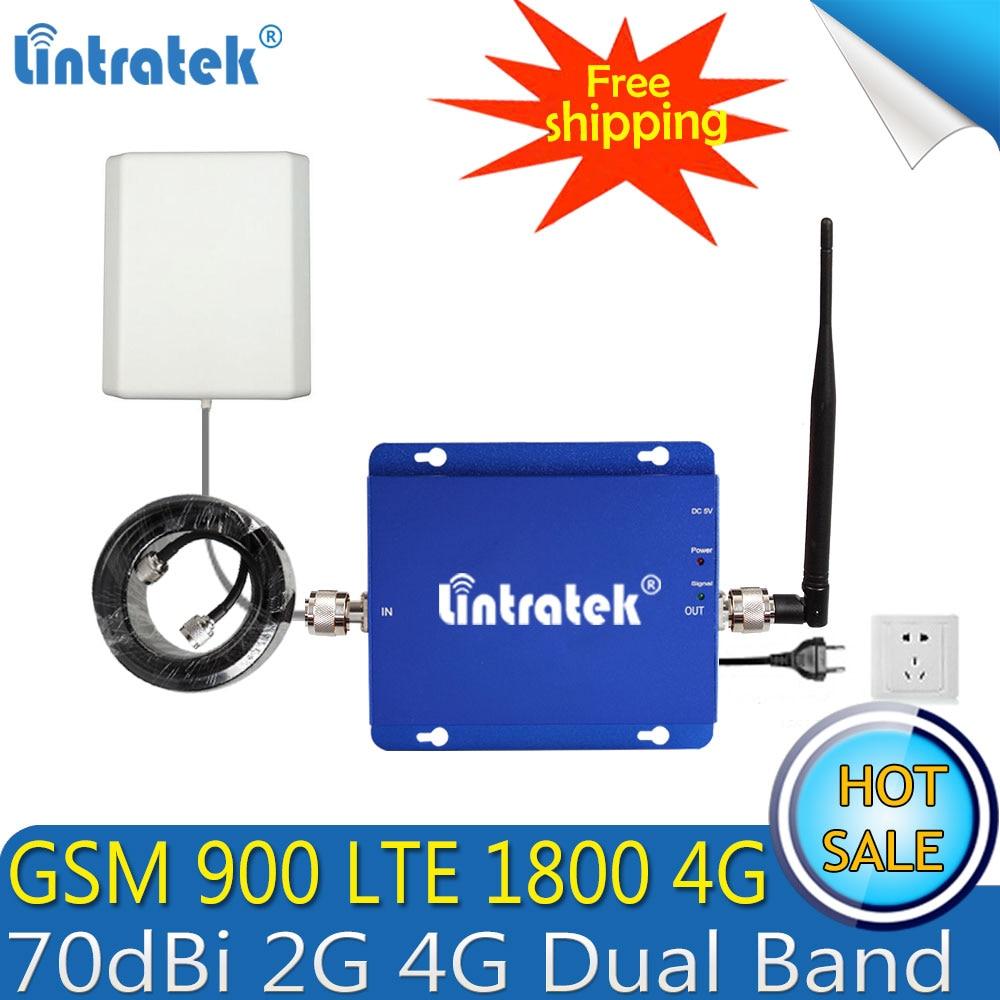 2018 Lintratek GSM 900 4G LTE 1800 Repeater GSM 1800mhz Mobile Signal Booster 70dB Dual Band Repetidor Celular 2G 4G Antenna