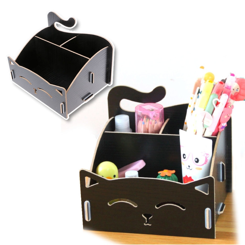 Handmade DIY Wooden Storage Box Cute Cat Makeup Case Office Pen Box Container Desktop Storage Assembly Home Office Storage Box