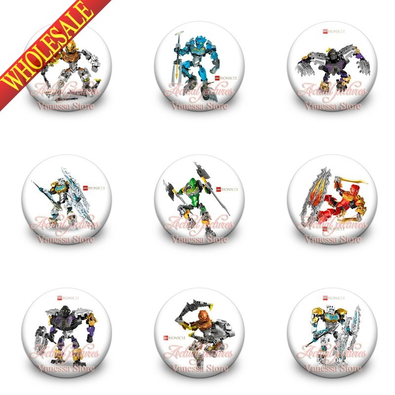 Guarantee 100% 9pcs Super Heros Bionicle 1.2 Inches & 30mm Tin Buttons Pins Badges Brooches Round Badges Fashion Christmas Gift