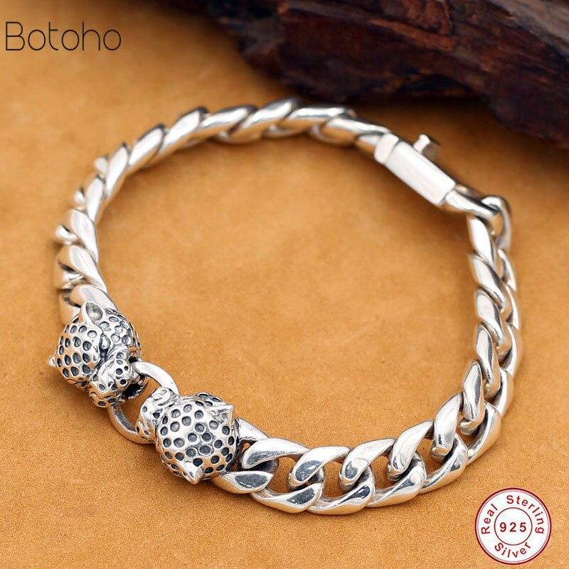 925 bracelet en argent Sterling punk rock vintage bracelet en argent sterling lourd bijoux de luxe pour hommes bracelet en argent pour hommes