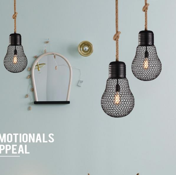 American Pastoral Vintage Iron Pendant Lights rope old coffee bar and restaurant of creative personality Pendant lamps ya72825American Pastoral Vintage Iron Pendant Lights rope old coffee bar and restaurant of creative personality Pendant lamps ya72825