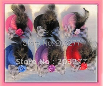 Free shipping!! Wholesale 12pcs/lot Wedding hat with rose hairpin hair clips could mix design accept