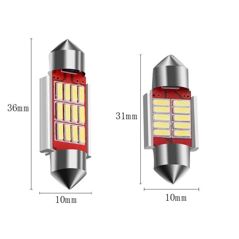 10 шт. гирлянда 31 мм, 36 мм, 39 мм, 41 мм C5W CANBUS Нет Ошибка Авто света 12 SMD 4014 светодио дный салона Купол Лампа настольная лампа белого DC12V