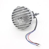 1X Shell Silver Chrome Fence Motorcycle Headlight LED H4 Driving Light Fog Light Source Xenon External